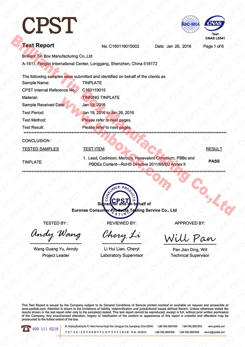 RoHS Certificate of Raw Material - tinplate