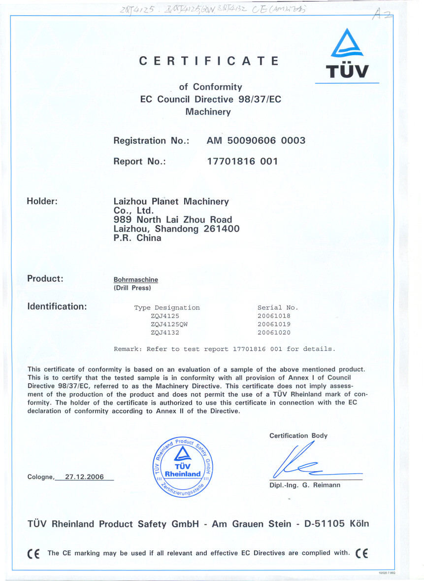 CE certificate for drill press