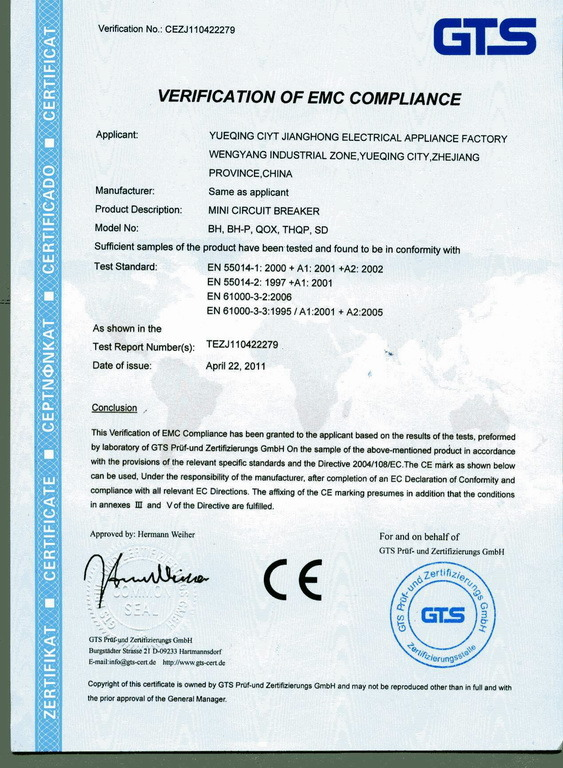 CE for Minni Circuit Breaker BH/BH-P/QOX/THQP/SD