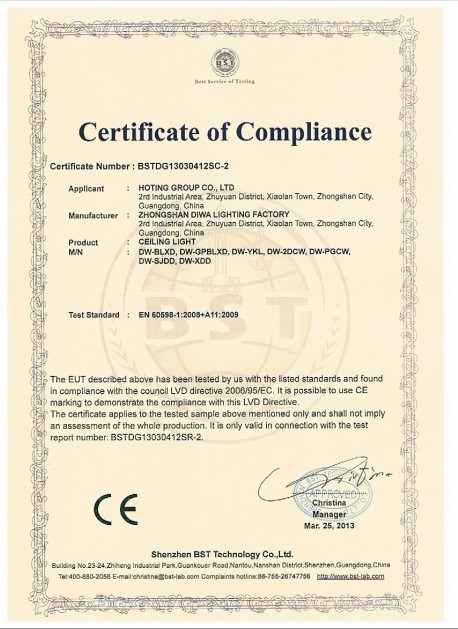 Glass Ceiling Light CE-LVD Certificate