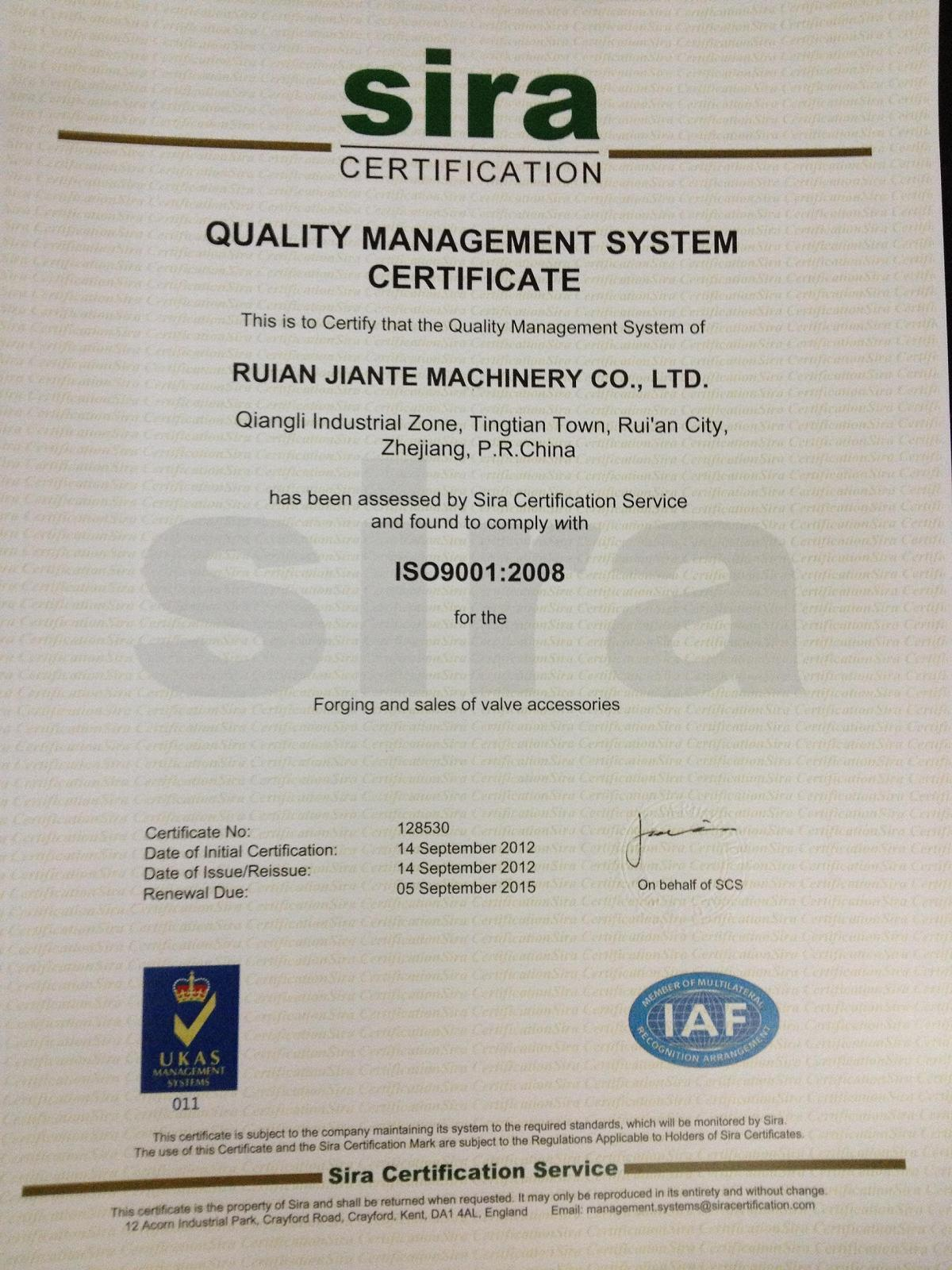 Certification for JIANTE