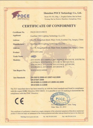 CE Certificate for R7s LED bulb series