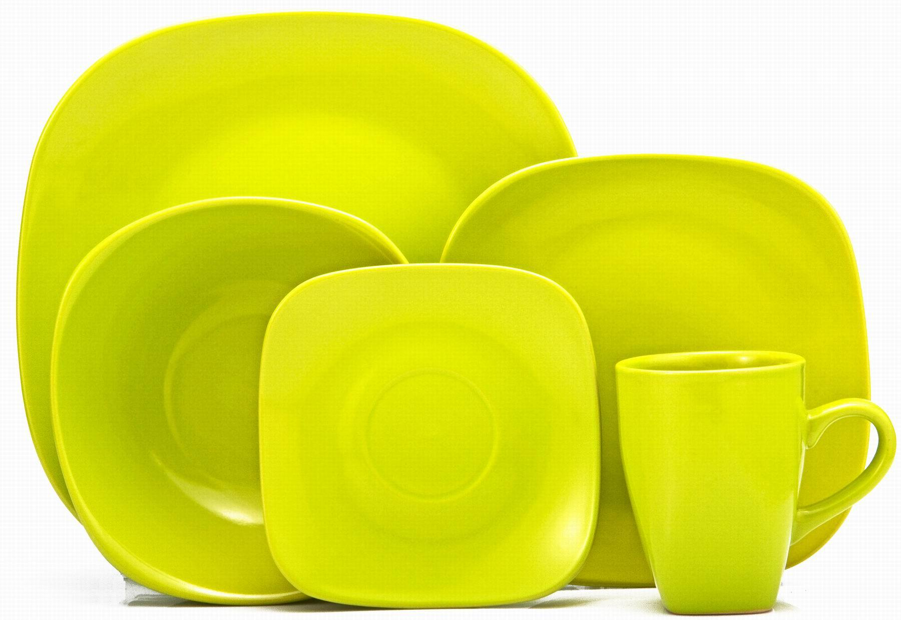 20 piece Stoneware Solid Color Square Dinnerware set (TM1304004)