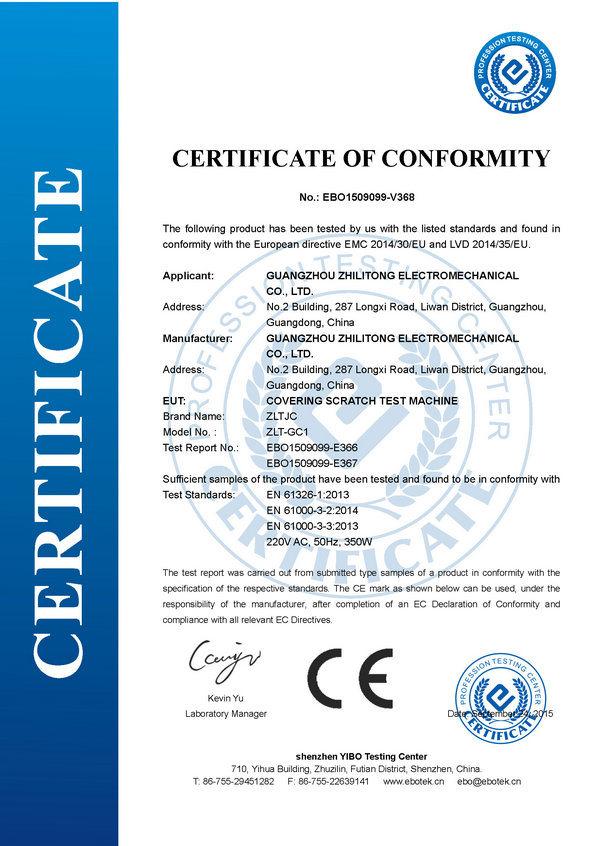 CE Certificate for Covering Scratch Test Machine - Guangzhou ...