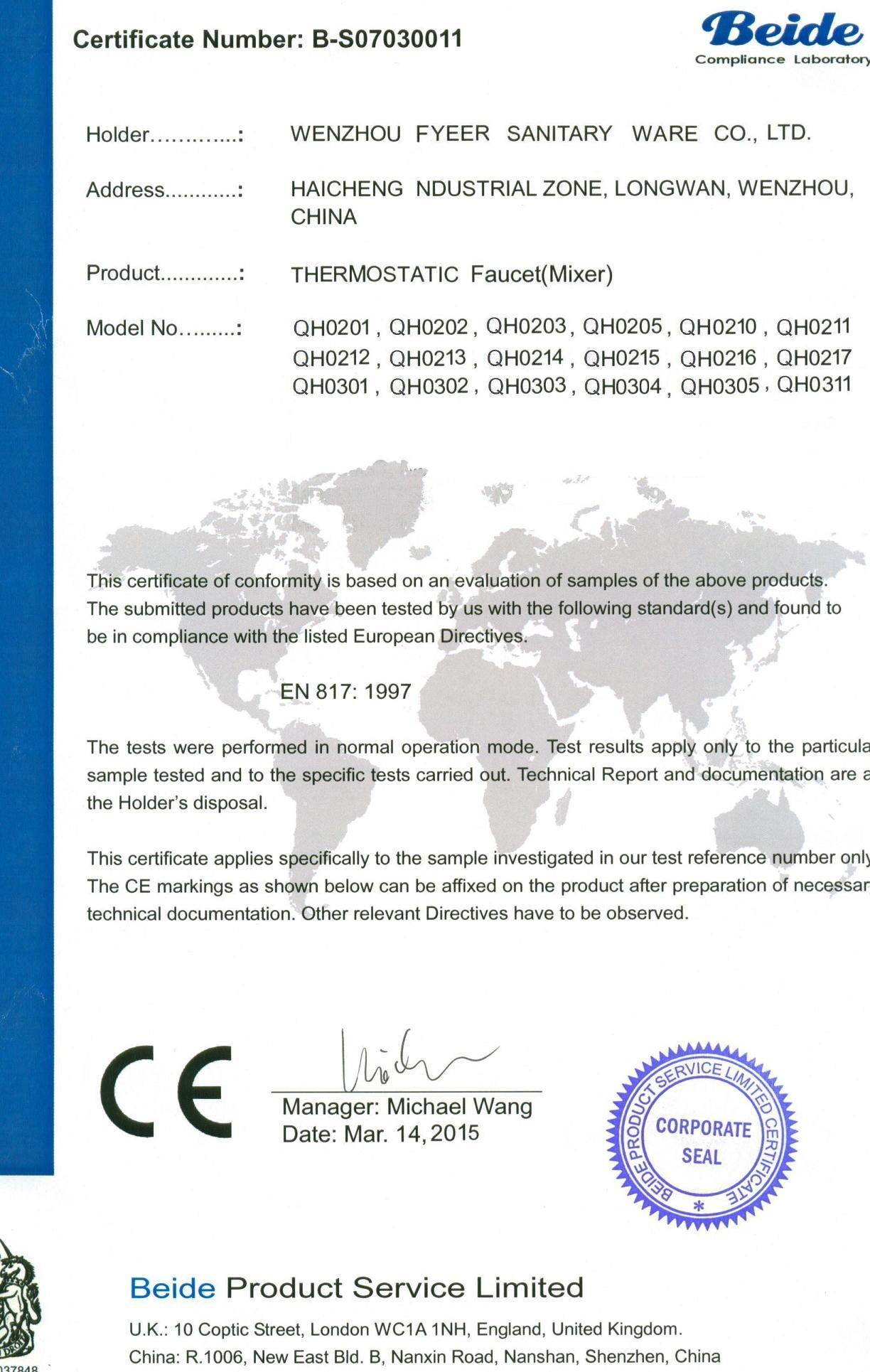 CE Certification of Thermostatic Faucet