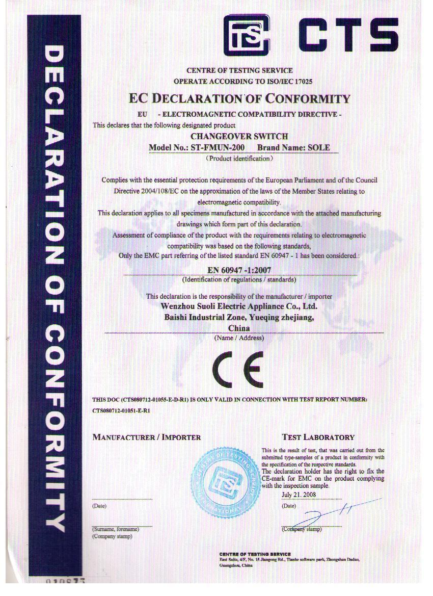 CE of Changeover Switch (200A)