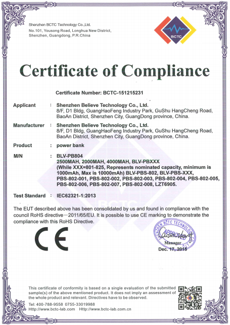 ROHS certificates of portable power bank products