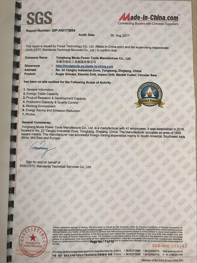 Sgs Certification Yongkang Muda Power Tools Manufacture Co Ltd
