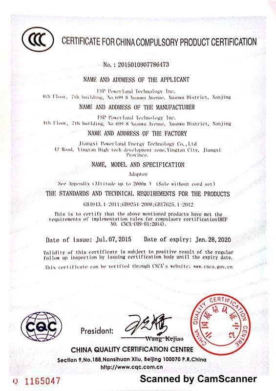 CCC Certificate - FSP-Powerland Technology Inc.