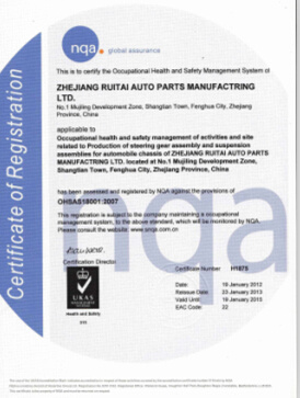 Occupational Health and Safetyt Management system certificate