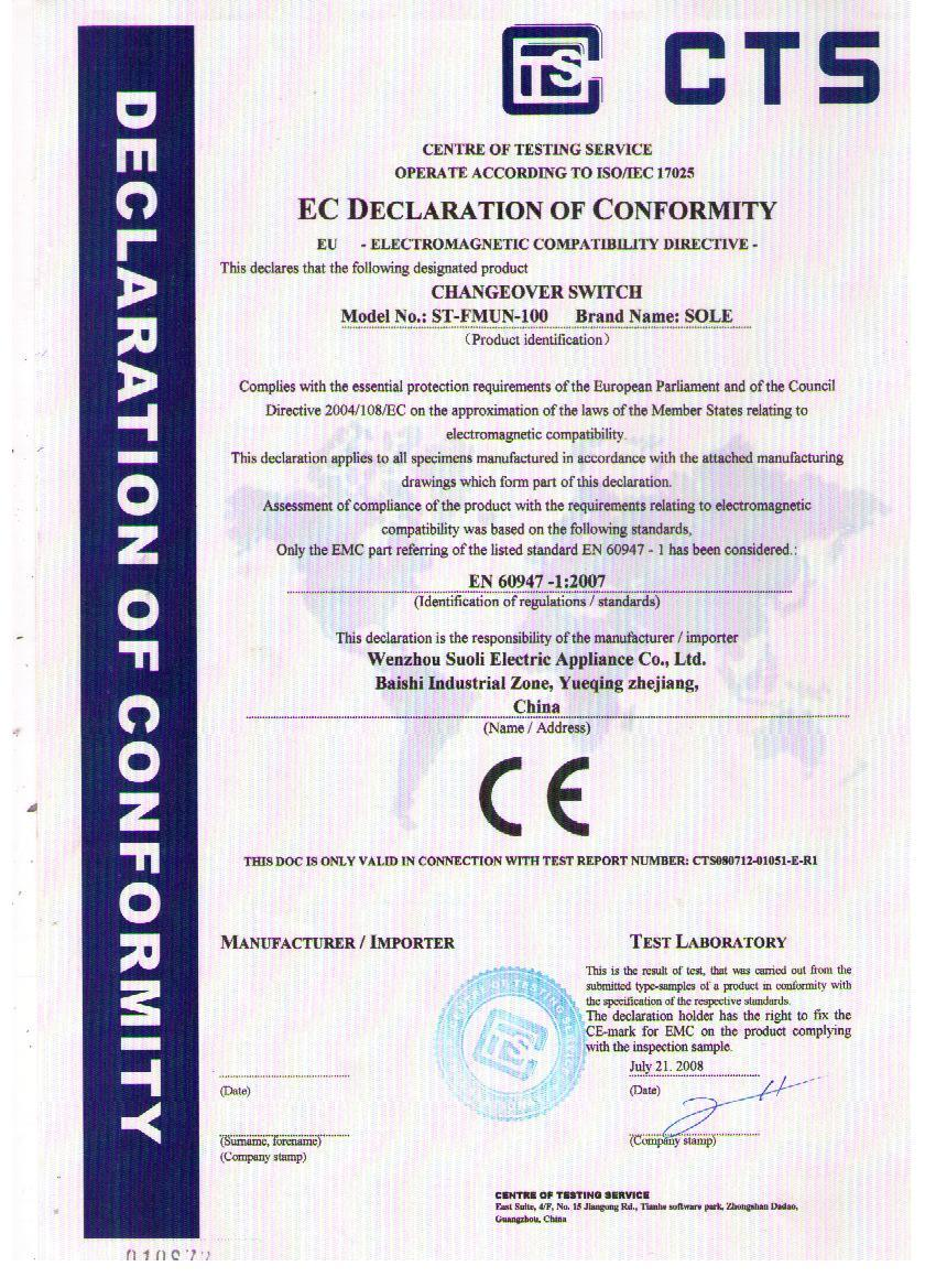 CE of Changeover Switch (100A)
