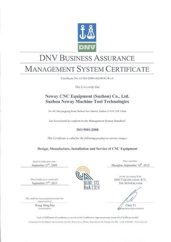 Iso Certificate Neway Cnc Equipment Suzhou Co Ltd