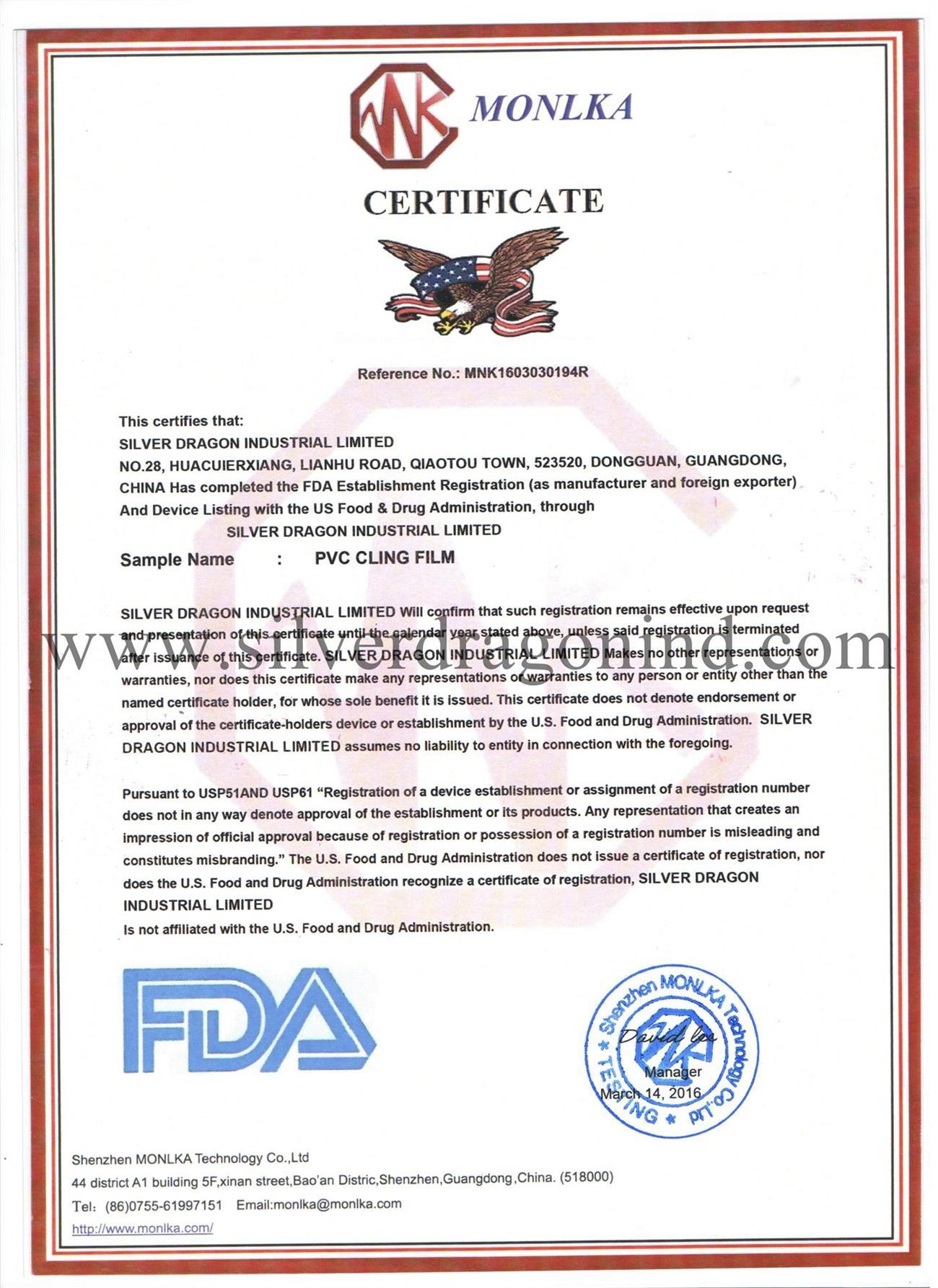Fda certificate for pvc cling film silver dragon industrial limited fda certificate for pvc cling film yadclub Image collections