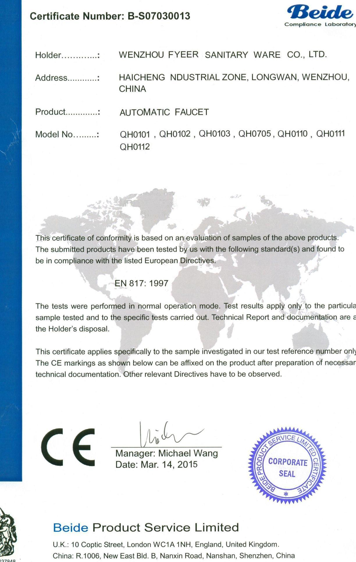 CE Certification of Automatic faucet