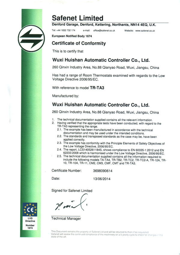 CE certificate of TR-TA3 series room thermostat