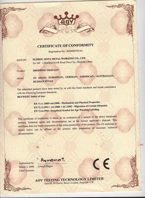 Ce Certification Shopping Trolley Suzhou Jinta Metal Working Co