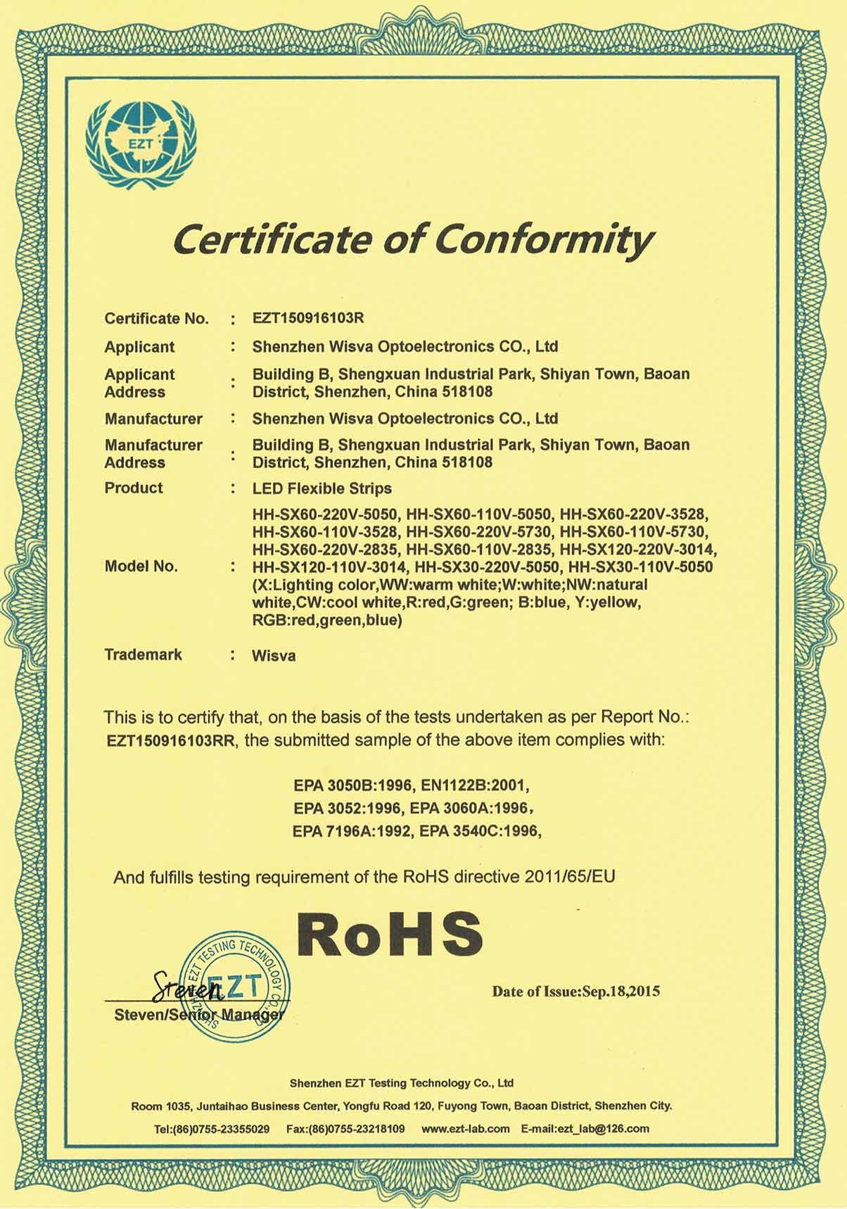 Rohs Certificate for High Voltage Stips