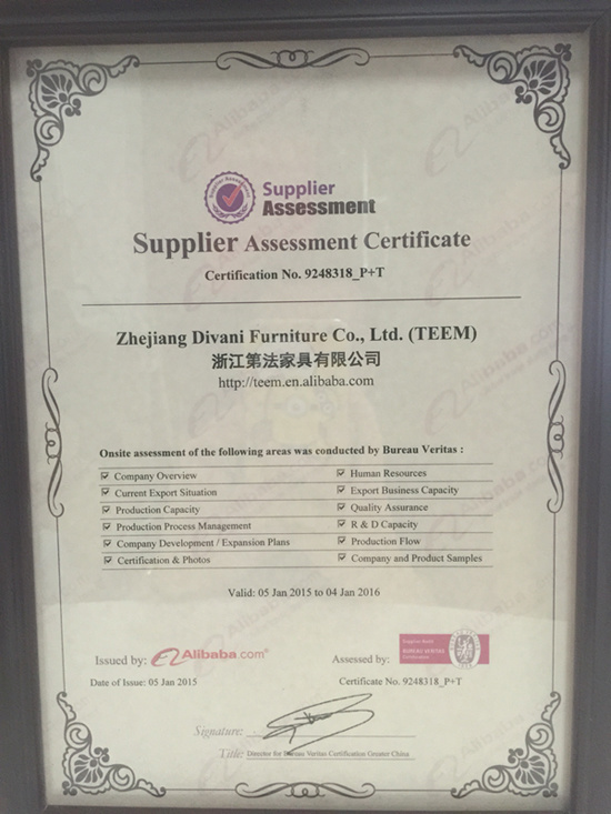 TEEM furniture 2015 BV CERTIFICATE