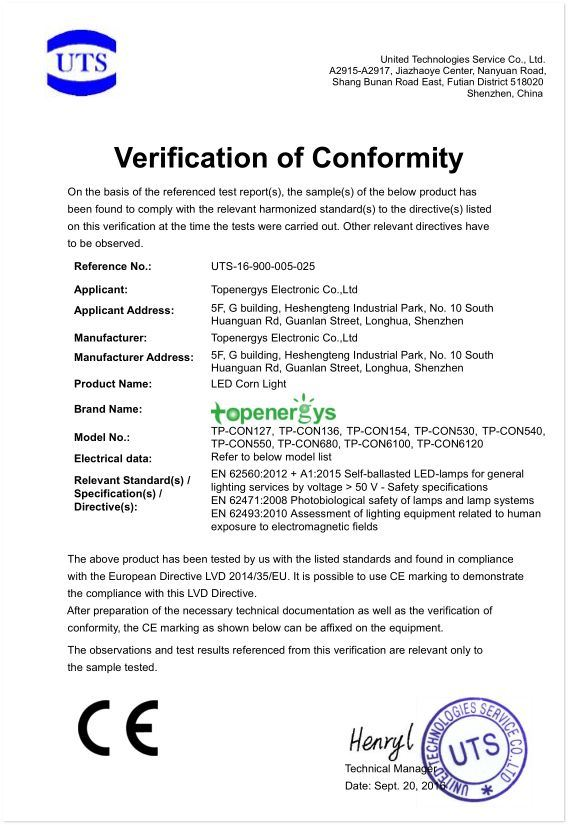 LVD certificate of LED corn light