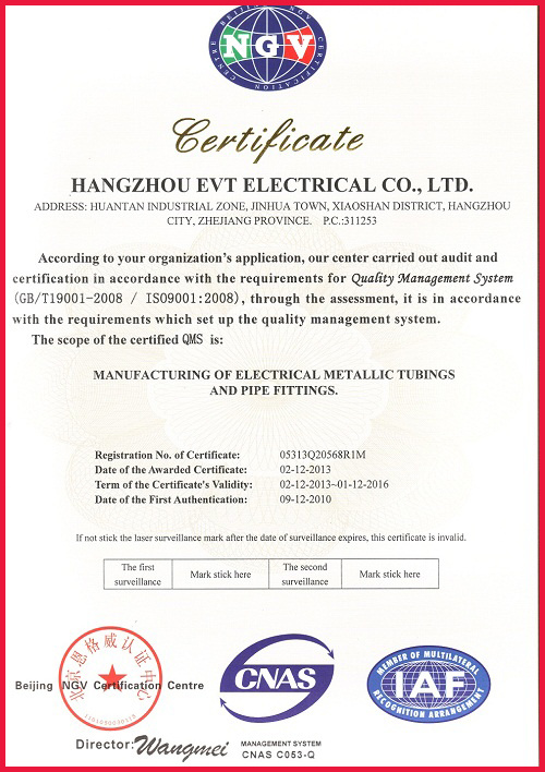 Iso 90012008 Hangzhou Evt Electrical Co Ltd