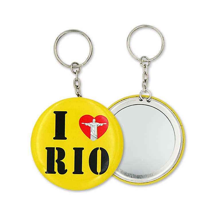 Custom Key Ring Print Logo Tinplate Key Chain Mirror