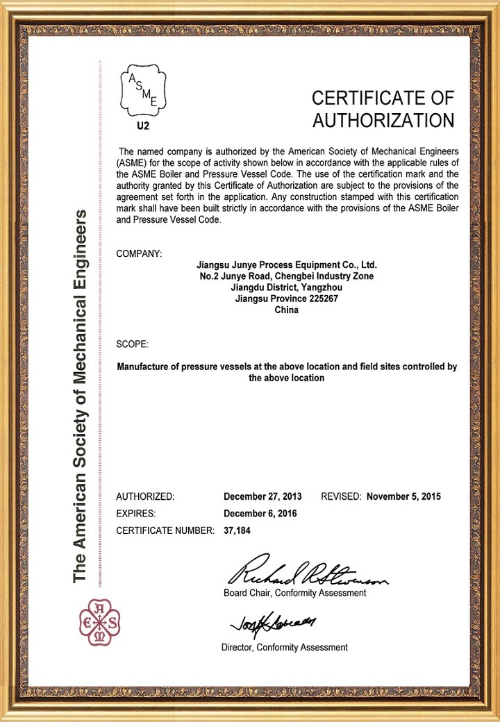 Certificates of ASME U2 Stamp for Pressure Vessel Production