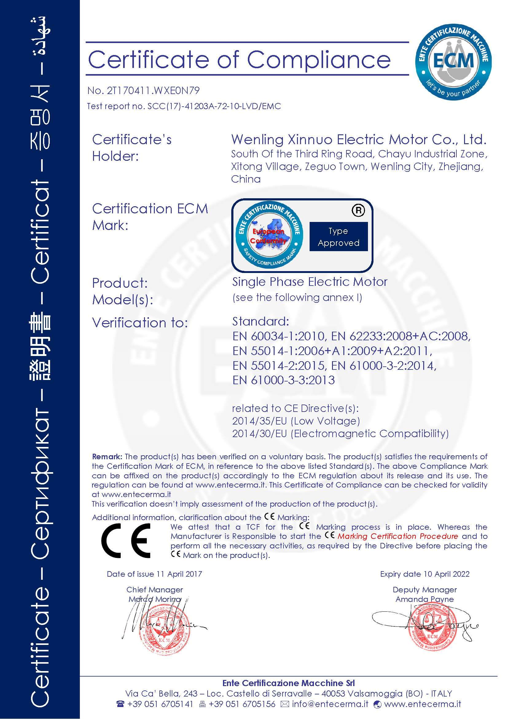 Single Phase Electric Motor Lvd & EMC CE Certificate