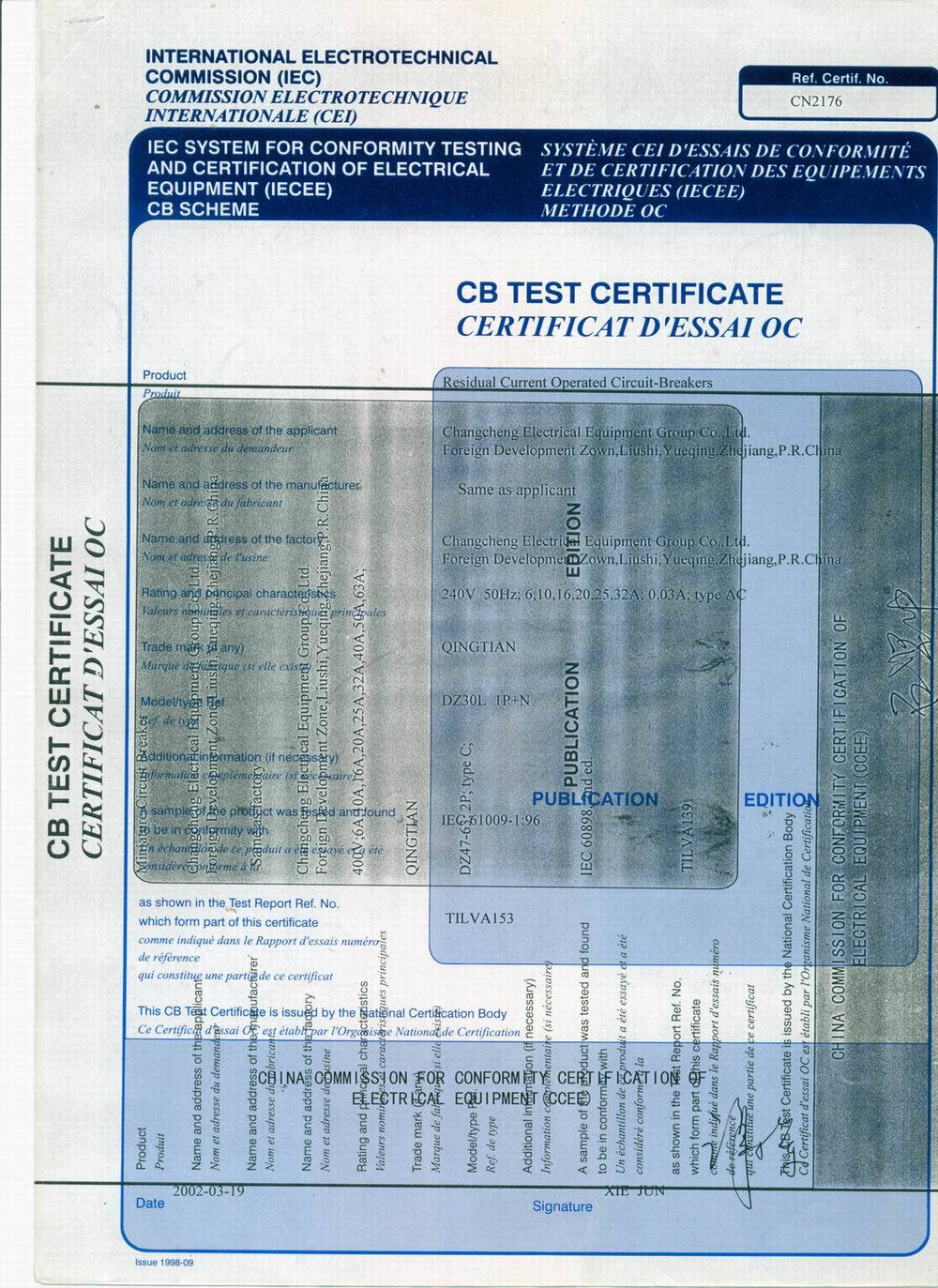 CB Certificates for DZ30LE ELCB