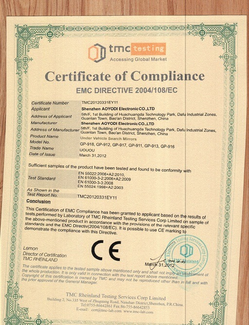 CE Certification for under vehicle search mirror