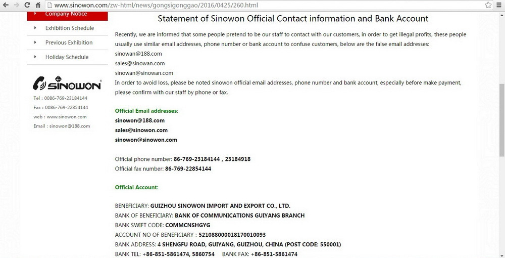 Statement of Sinowon Official Contact information and Bank Account