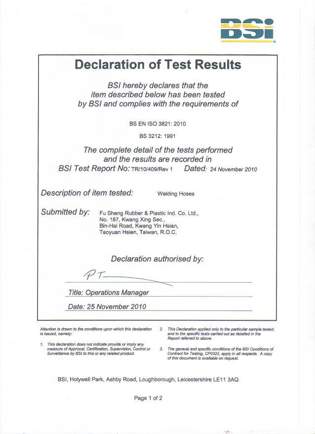 BS CERTIFICATE for HOSE