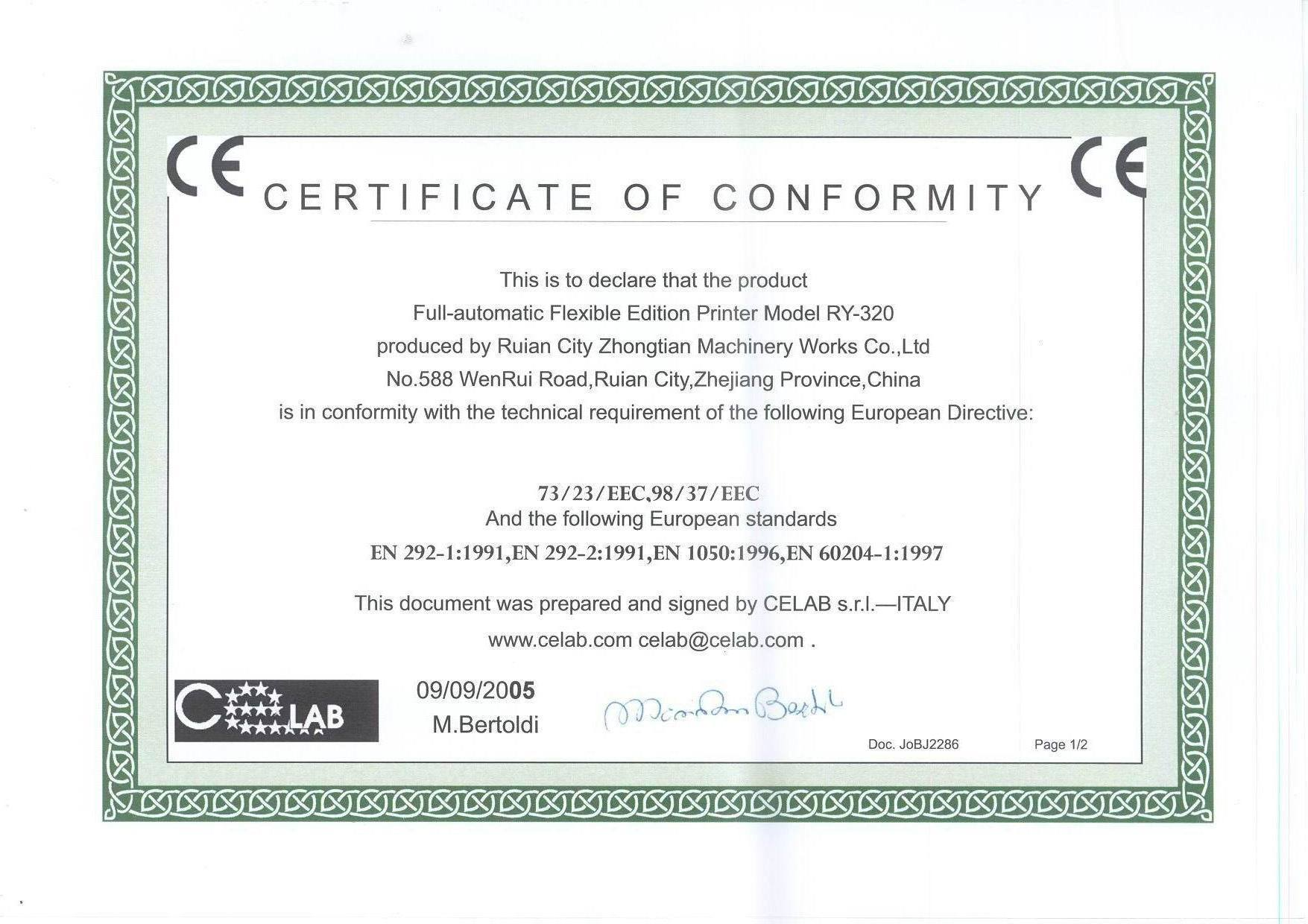 Ce certification for flexo printing machine zhejiang zhongte ce certification for flexo printing machine 1betcityfo Choice Image