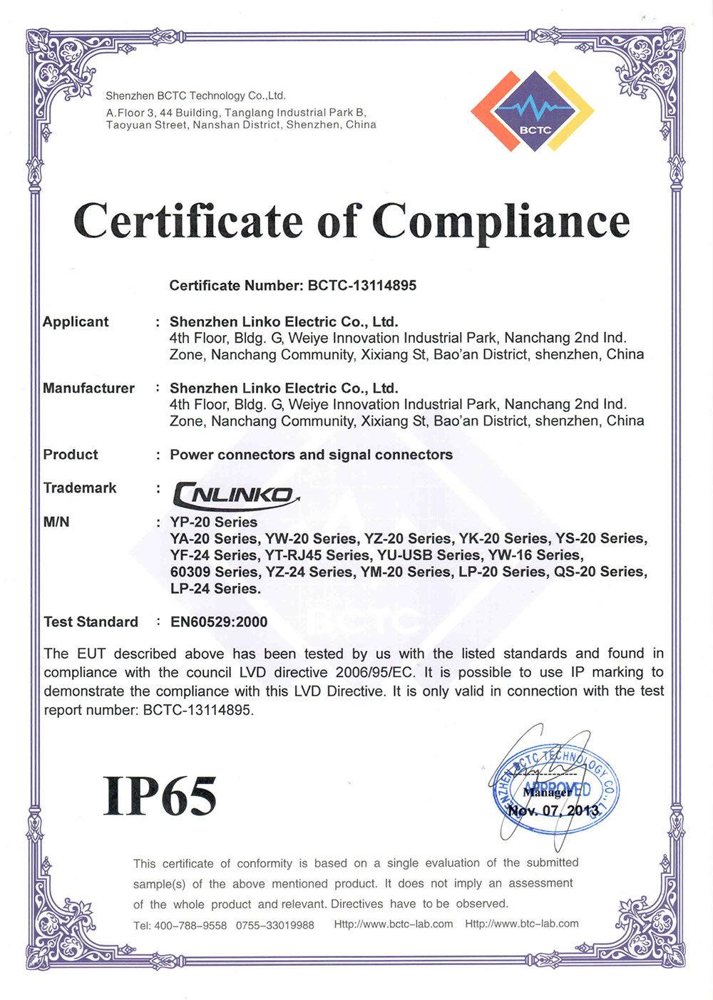 certificate ip65