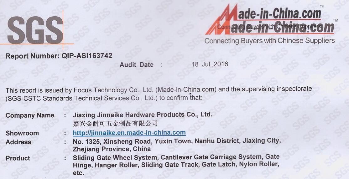 Sgs Certification Jiaxing Jinnaike Hardware Products Co Ltd