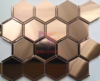 Mirror rose gold hexagon stainless steel mosaic tile(CFM1142)
