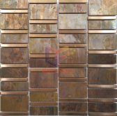 Rose gold stainless steel mix copper metal mosaic tile(CFM1135)