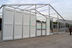 Tent with glass and ABS panels