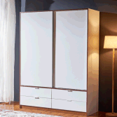 Customizable wooden 2 sliding door wardrobe closet