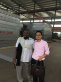Bukina faso customer visit our factory for ordering 3x18m,SCS100tons truck scale