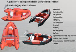 aqualand 14feet 4.3m rigid inflatable rescue boat/rib motor boat