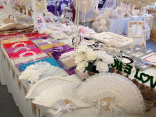 wedding lace fan guest book dinner set
