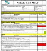 Mold acceptance checking list