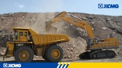 XCMG excavators and dumpers applied in iron mine of Inner Mongolia.