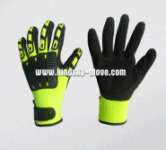 10G Knitting Liner Hi Viz Nitrile Coated Glove with TPR Back
