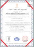ISO 9001 Quality control certificate