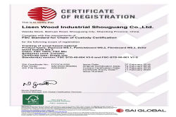 FSC certificate for plywood, mdf and partcile board products