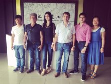 Take photo with our european customers after signing roll forming machine contract