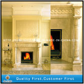 marble fireplace and columns