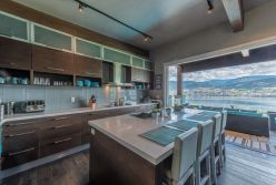 Canada client′s wood veneer kitchen cabinet