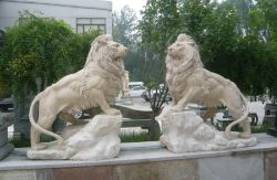 Lion stone sculptures